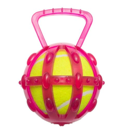15301 2 - Tpr Cage With 5″ Tennis Ball- Transparent Version – Pink