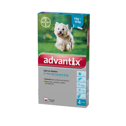 85134264 - Advantix - For Dogs between 4 to 10kilo (4pipettes)