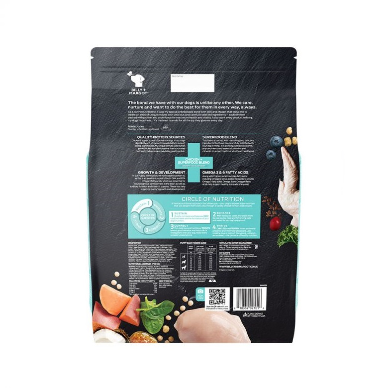 300869 9kg back 1 - Billy & Margot Puppy Chicken and Superfood Blend Dry