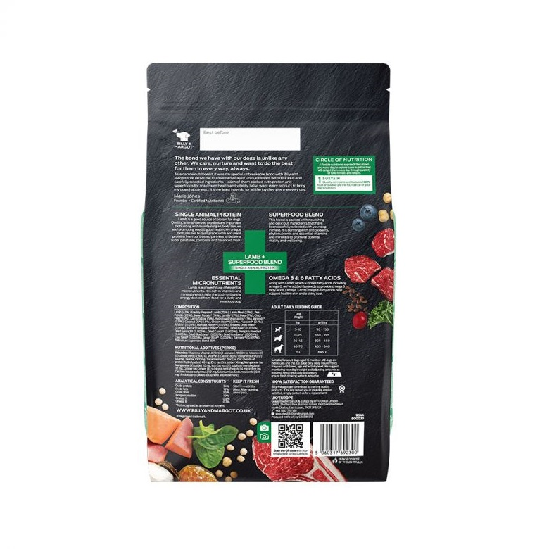 300872 back - Billy & Margot Adult Lamb and Superfood Blend Dry