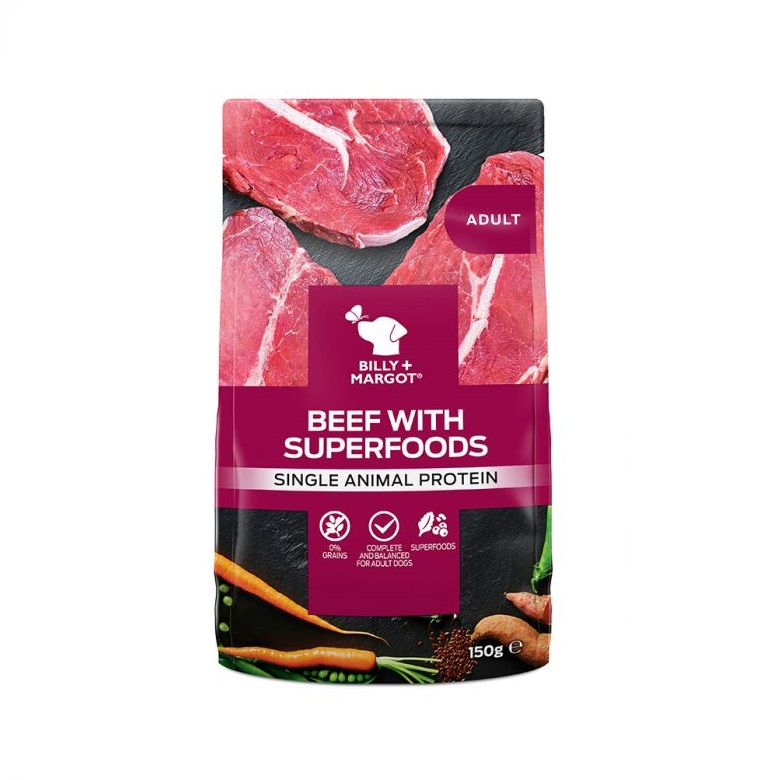 300876 front - Billy & Margot Adult Beef with Superfoods Pouch