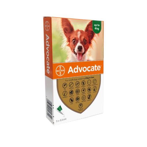 1016892 - Advocate Dog Small 4kg (3 pipettes)