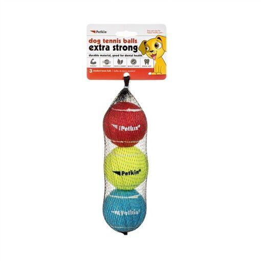 5520 1000x1000 1 - Petkin 3 Dog Tennis Balls Extra Strong Standard Rainbow
