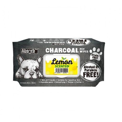 CHARCOAL PET WIPES Lemon 1000x1000 1 - Absolute Pet Absorb Plus Charcoal Pet Wipes Lemon 80 Sheets
