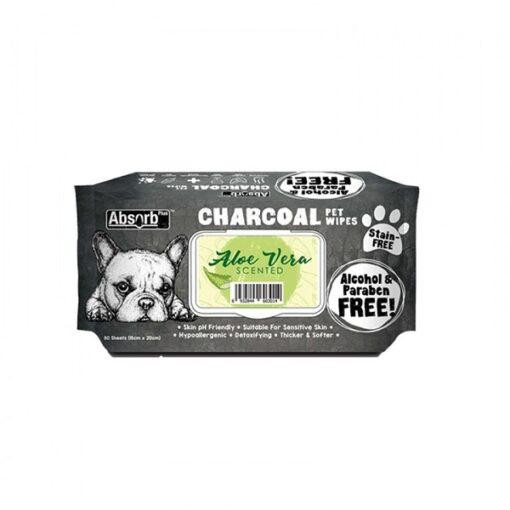 CHARCOAL PET WIPES aloe vera 1000x1000 1 - Absolute Pet Absorb Plus Charcoal Pet Wipes Aloe Vera 80 Sheets