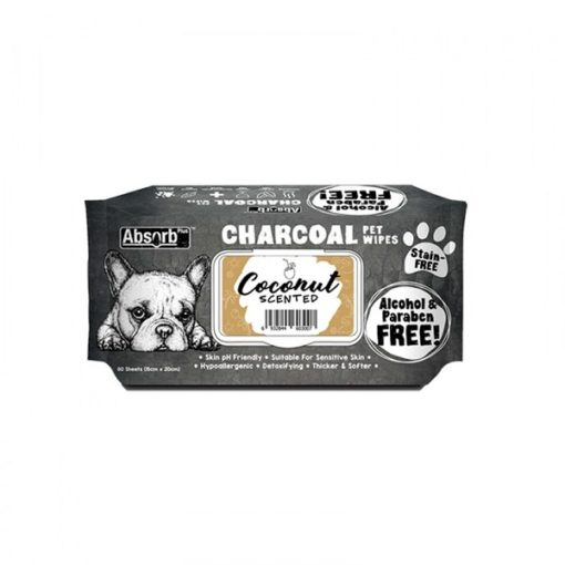 CHARCOAL PET WIPES coconut 1000x1000 1 - Absolute Pet Absorb Plus Charcoal Pet Wipes Coconut 80 Sheets