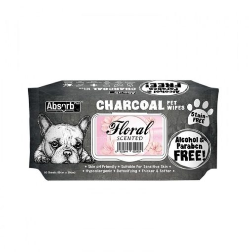 CHARCOAL PET WIPES floral 1000x1000 1 - Absolute Pet Absorb Plus Charcoal Pet Wipes Floral 80 Sheets