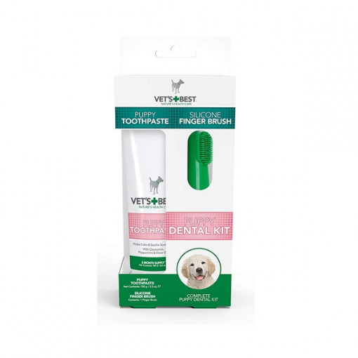 Vets Best Puppy Toothpaste 1 - Vet's Best Puppy Toothpaste with Silicon Finger Brush