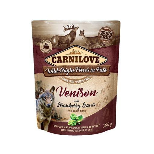 carnilove venison with strawberry leaves for adult dogs wet food pouches 300g1 - Carnilove Venison With Strawberry Leaves For Adult Dogs