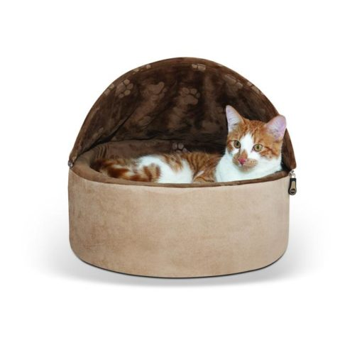 - K&H Self-Warming Kitty Bed Hooded Small Chocolate Tan