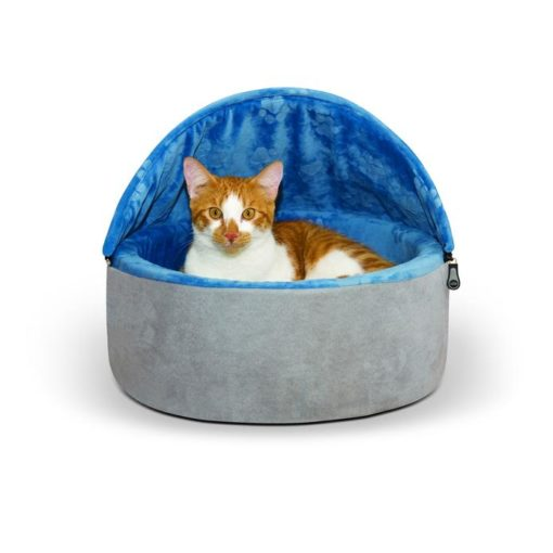 - K&H Self-Warming Kitty Bed Hooded Small Blue Gray