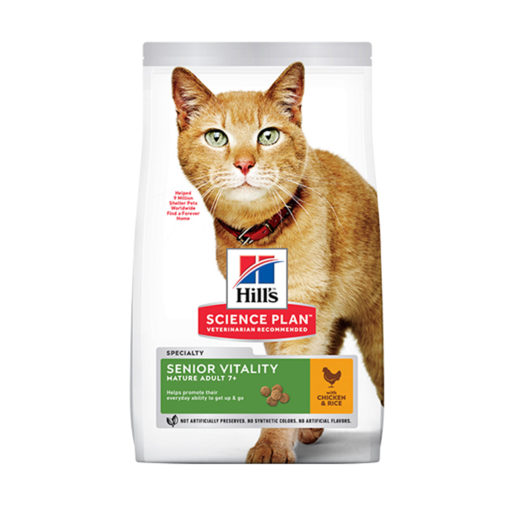 605263 1 - Hill's Science Plan Senior Vitality Mature Adult 7+ Cat Food With Chicken & Rice