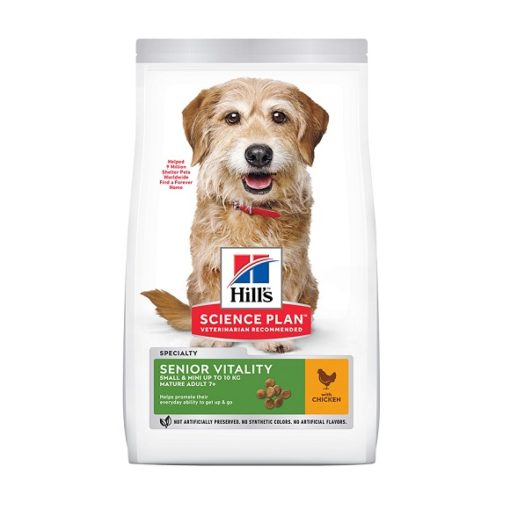 605265 605266 1 - Hill's Science Plan Senior Vitality Small & Mini Mature Adult 7+ Dog Food With Chicken & Rice