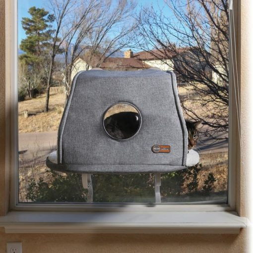 - K&H Universal Mount Kitty Sill With Hood Gray