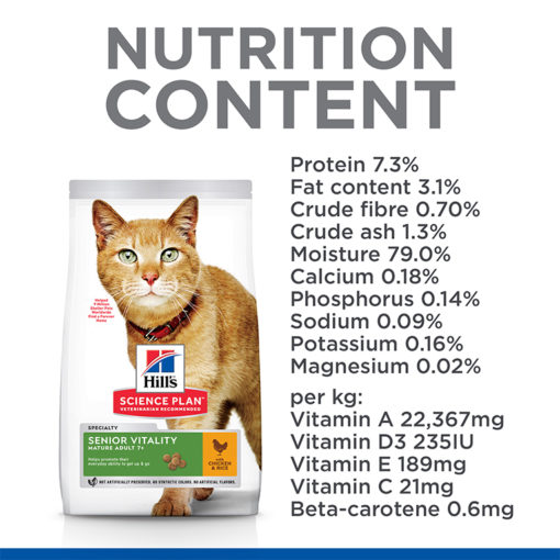 Cat Senior Vitality Chicken Nutrients - Hill's Science Plan Senior Vitality Mature Adult 7+ Cat Food With Chicken & Rice