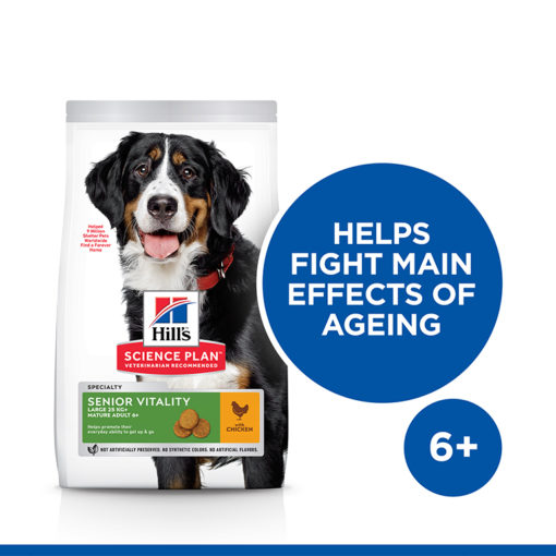 Dog Senior Vitality Chicken Large Front of pack - Hill's Science Plan Senior Vitality Large Breed Mature Adult 6+ Dog Food With Chicken & Rice