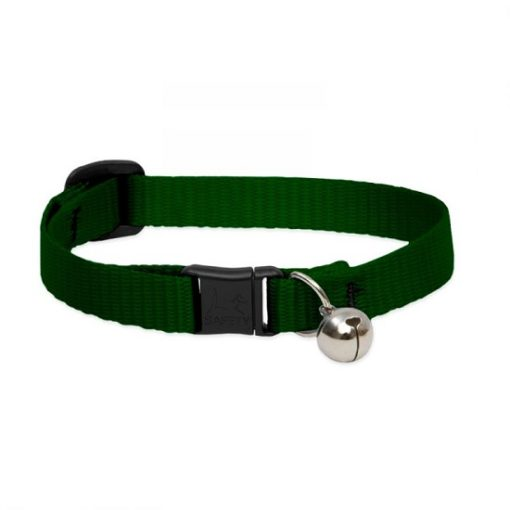 Basic Solids Safety Cat Collar Green bell - Basic Solids Safety Cat Collar with Bell Green