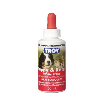 PUPPY KITTEN WORM SYRUP 50ML 400X384 - Troy Puppy & Kitten Worm Syrup 50ML