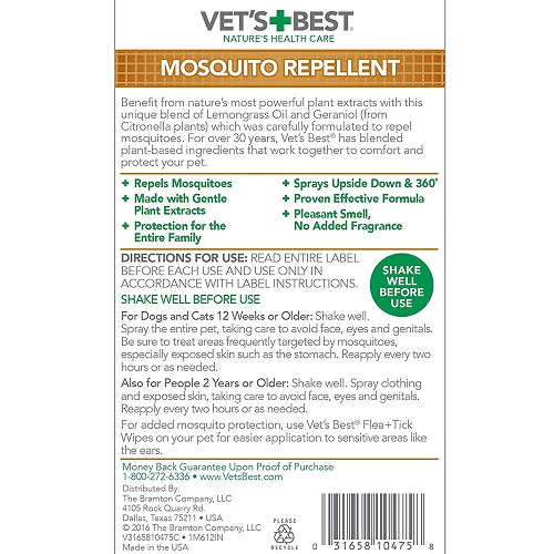 mosquito repellent 2 - Vet's Best Mosquito Repellent for Dogs and Cats