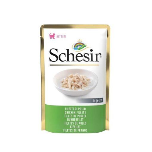 schesir cat pouch jelly chicken fillets 85gm - Schesir Kitten Cat Pouch Jelly Chicken Fillets 85gm
