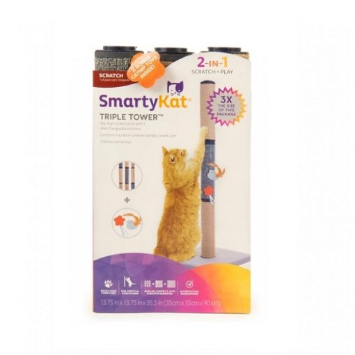 9406a 1000x1000 1 - SmartyKat Triple Tower Carpeted Cat Scratch Post