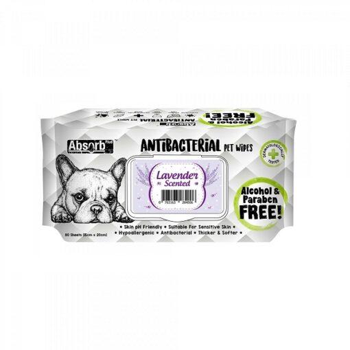 ANTIBACTERIAL PET WIPES Lavender 1000x1000 1 - Absolute Pet Absorb Plus Antibacterial Pet Wipes Lavender 80 Sheets