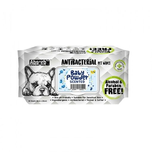 ANTIBACTERIAL PET WIPES baby powder 1000x1000 1 - Absolute Pet Absorb Plus Antibacterial Pet Wipes Baby Powder 80 Sheets