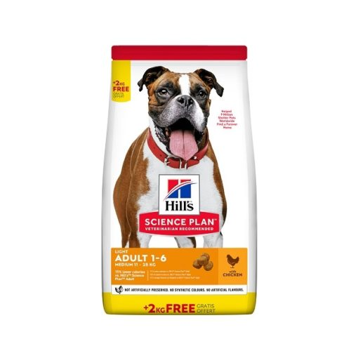 604360 FF BB - FREE 2Kg on Hill's Science Plan Light Medium Adult Dog Food With Chicken Bonus Bag