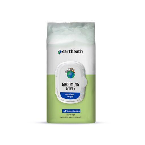 GreenTea Wipes 100ct Front - Earthbath Grooming Wipes, Green Tea & Awapuhi 100 ct