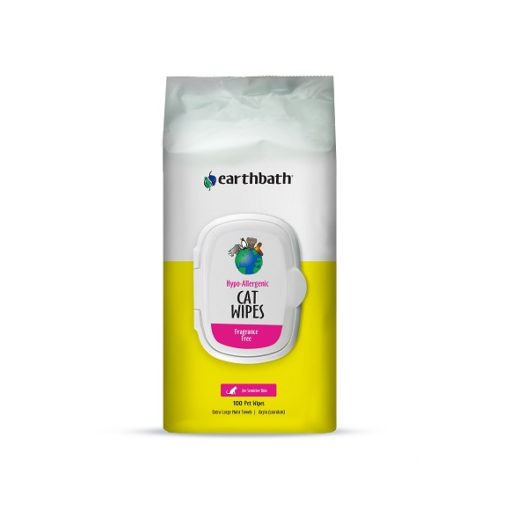 Hypo Cat Wipes 100ct Front - Earthbath Hypo-Allergenic Cat Grooming Wipes, Fragrance Free, Cleans & Conditions, 100 ct