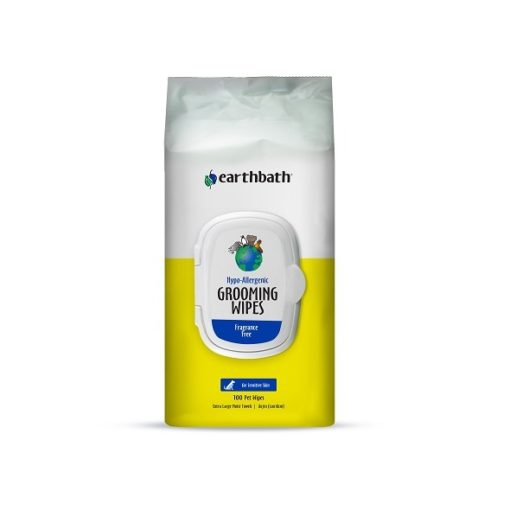 Hypo Dog Wipes 100ct Front - Earthbath Hypo-Allergenic Grooming Wipes, Fragrance Free, Cleans & Conditions, 100 ct