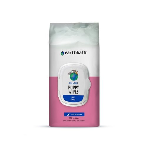Ultra Mild Puppy Wipes 100ct Front - Earthbath Ultra-Mild Puppy Wipes, Wild Cherry, Cleans & Conditions 100 ct