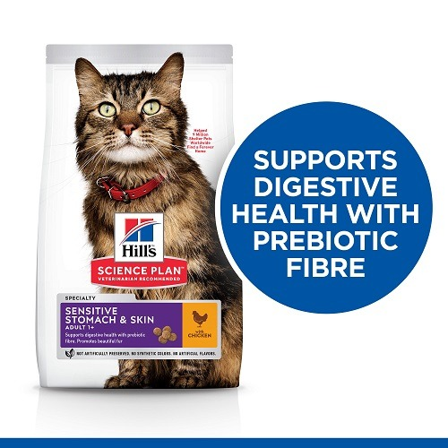604072 Cat Sensitive StomachSkin Front of Pack EN - Hill's Science Plan - Sensitive Stomach & Skin Adult Cat Food With Chicken