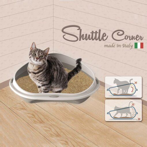61 4 - Georplast Shuttle Corner Cat Litter Tray Green