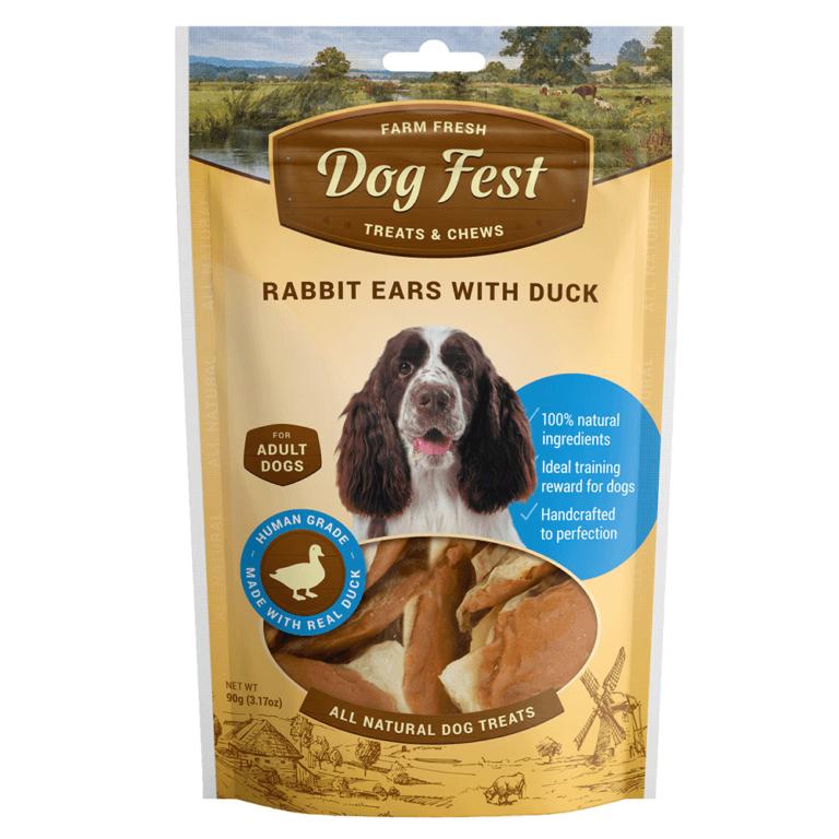 69214997118471 - Dog Fest Rabbit Ears With Duck 90g