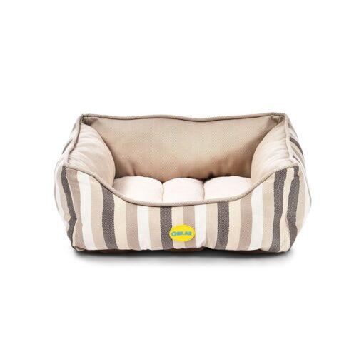 7110762625335 medium Stripy Bed Beige - OSKAR - Stripy Bed Beige
