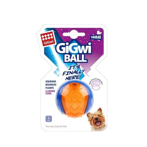 846295062947 1 11 - GiGwi Ball Squeaker Blue/Orange S 1pk