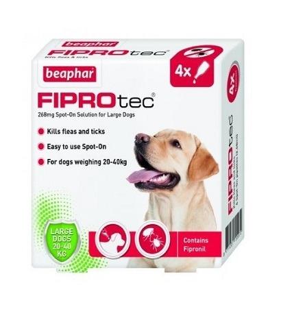 Beaphar Fiprotec Spot On for Large Dogs 4 vials - Beaphar - Fiprotec Spot-On for Large Dogs (4 vials)