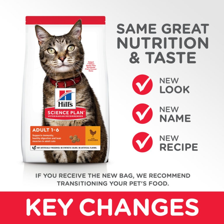 CAT Adult Chicken Transition Summary of Changes - Hill's Science Plan - Adult Cat Food With Chicken