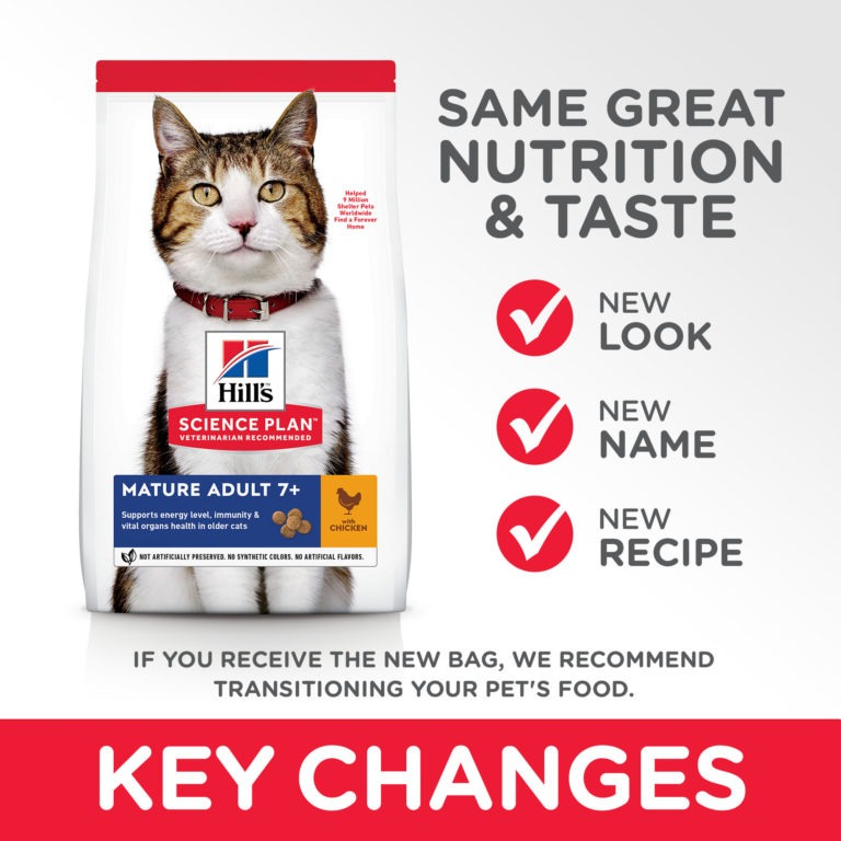 CAT Mature Adult Chicken Transition Summary of Changes - Hill's Science Plan - Mature Adult 7+ Cat Food With Chicken