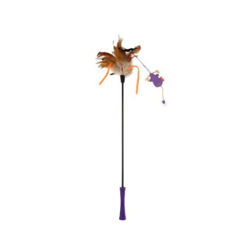Catwand Feather Teaser w Natural Feather & TPR Handle