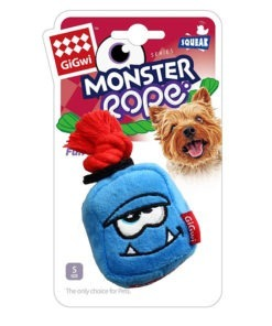 Blue Monster Rope Squeaker Inside Small Plush Rope