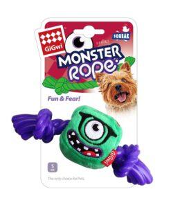 Green Monster Rope Squeaker Inside Small Plush Rope