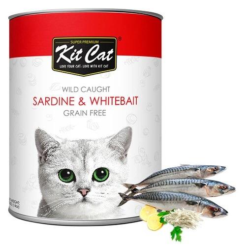 KitCat Wild Caught Sardine WhiteBait 3 - Kit Cat - Wild Caught Sardine & WhiteBait 400g