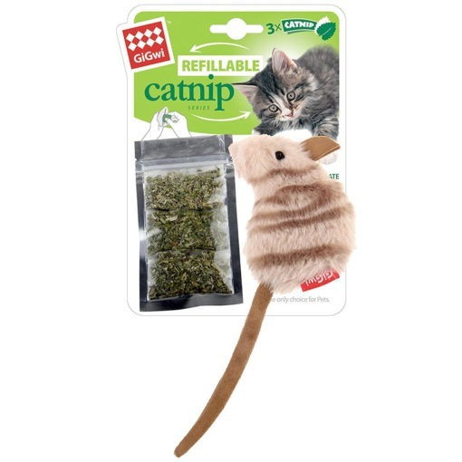 Mouse Fluffy Plush Cat Toy with 3 Refillable Catnip Bags