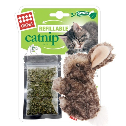 Rabbit Fluffy Plush Cat Toy with 3 Refillable Catnip Bags