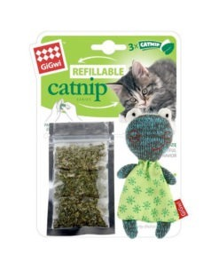 Refillable Catnip Frog with 3 Catnip Tea bags in Ziplock Bag