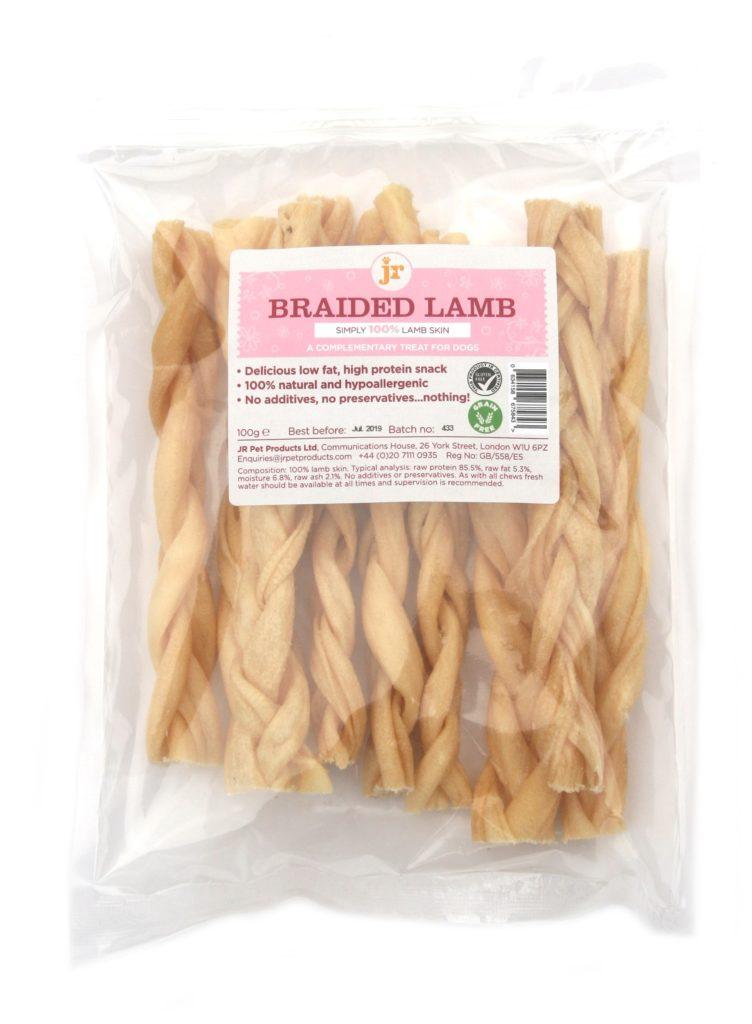 braided lamb in pack scaled - JR-braided Lamb 100g Natural Dog Treats