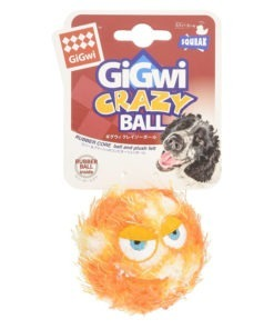 Gigwi Crazy Plush and Rubber Ball Dog Toy with Squeaker – Medium