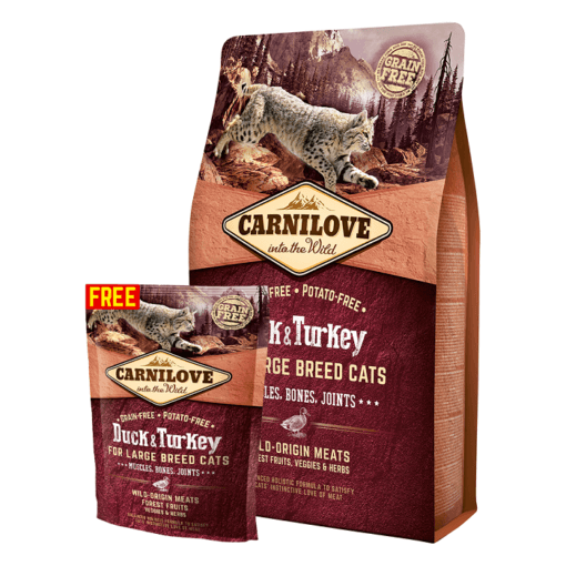 OFFER - Carnilove Duck & Turkey For Large Breed Adult Cats 2kg + 400g FREE
